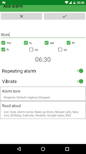 Speaking alarm clock Screenshot