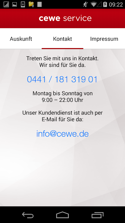 cewe service- screenshot