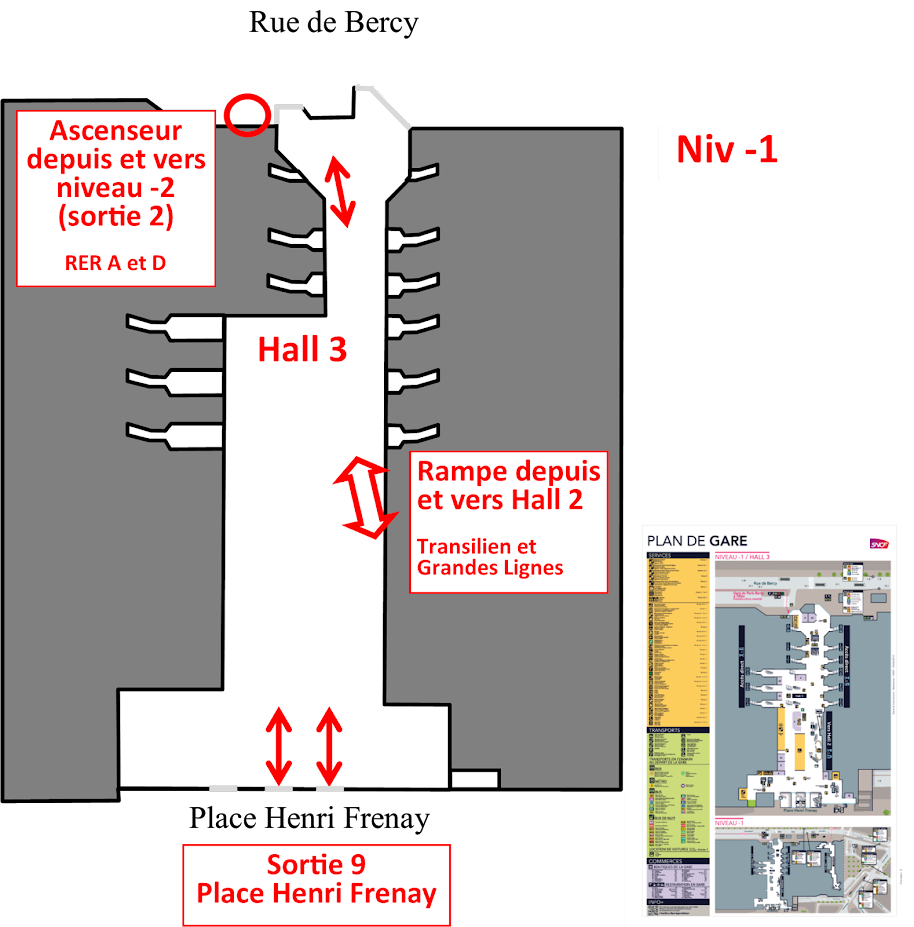 plan niveau -1 hall 3 Gare de Lyon