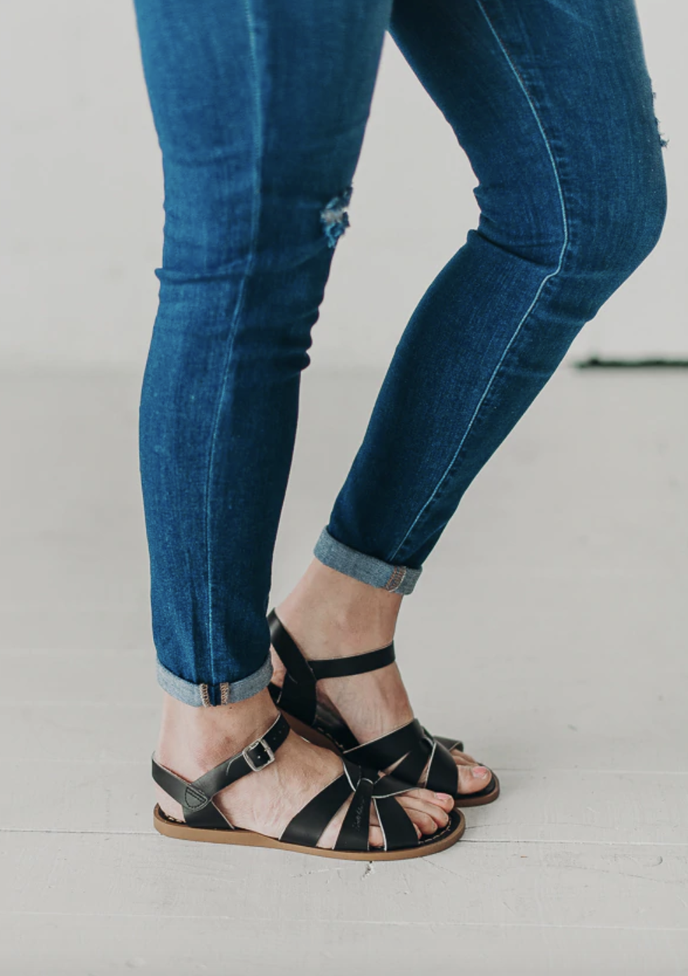 Open toed sandals with rust proof buckles