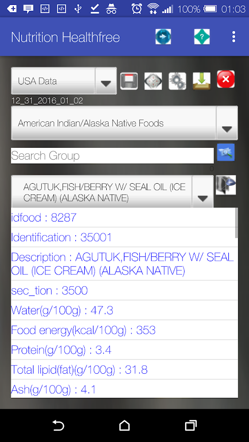 Nutrition & Health Data/Record- screenshot