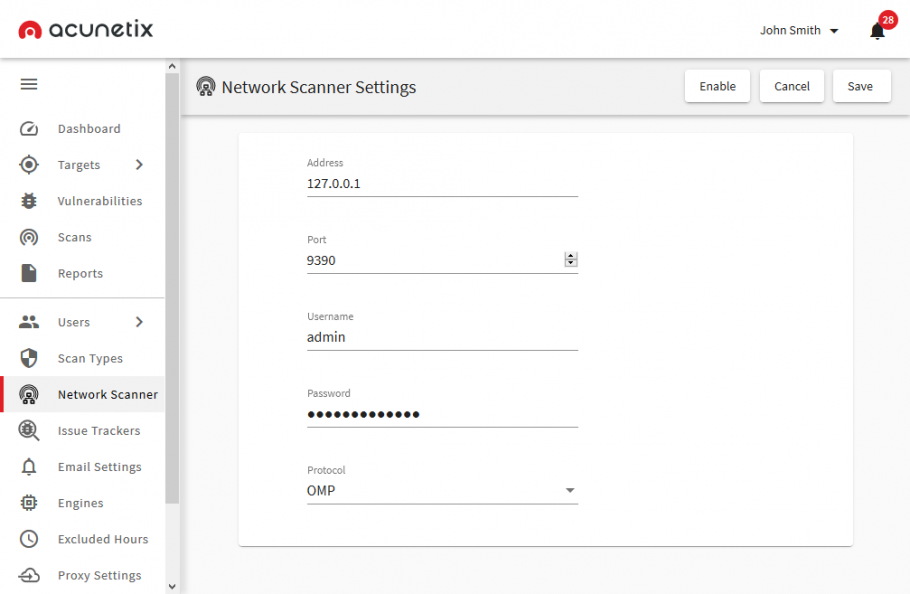 Setting up a network scan target
