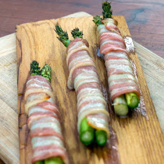 Planked Bacon Wrapped Asparagus.