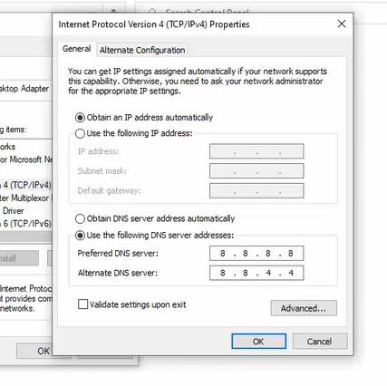 internet protocol version 4 properties window