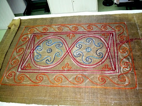 Photo: a szőnyegünk lerakott kontúrja