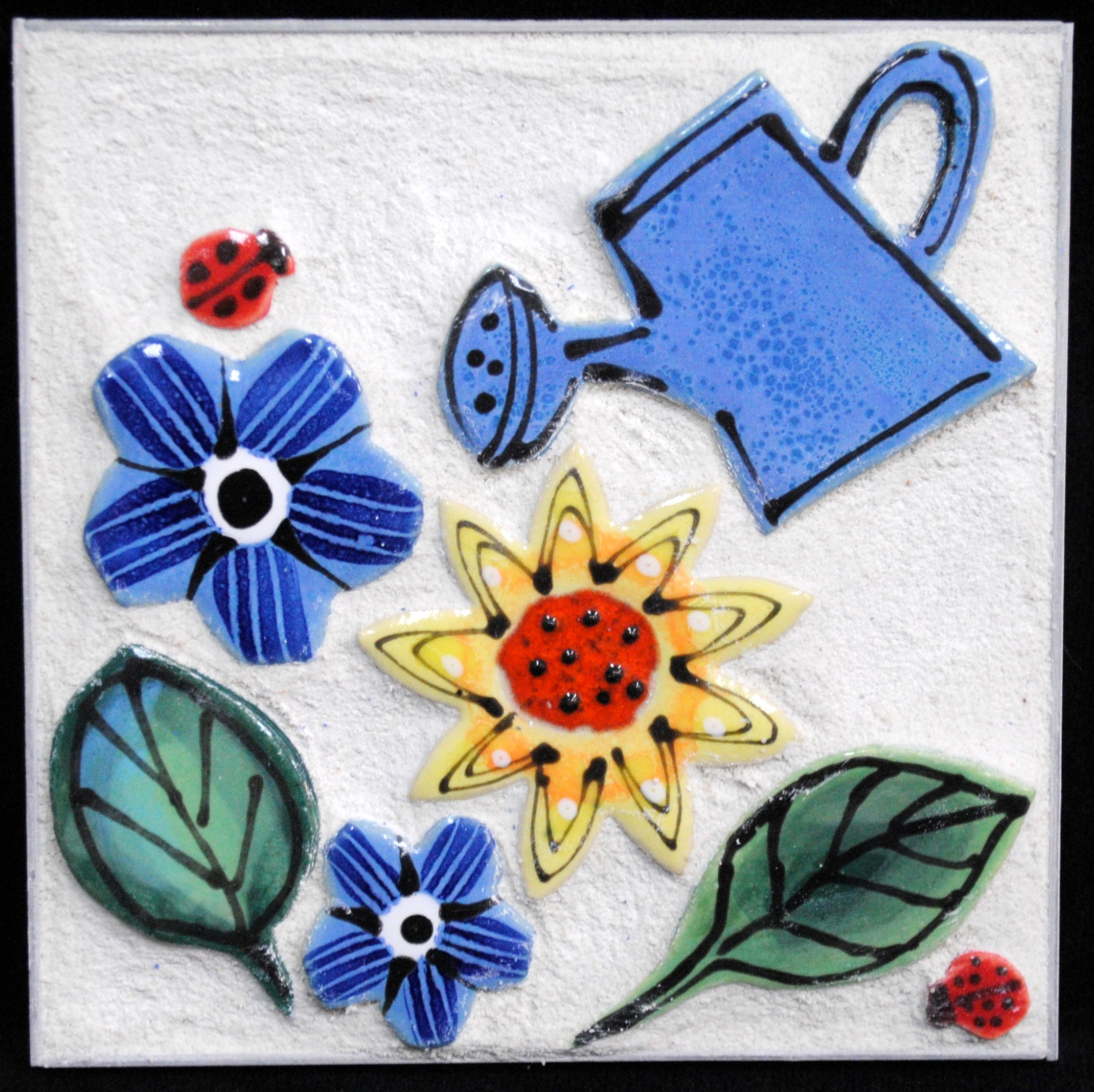 Flower Garden With A Watering Can Mini Mosaic by Brenda Pokorny
