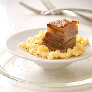 Seared Pork Belly with Smoked Gouda Macaroni.