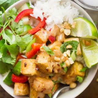 Lemongrass Tofu Buddha Bowls with Peanut Sauce.