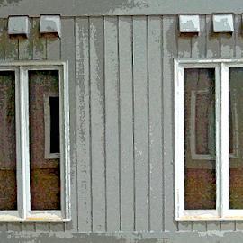 Windows by Edward Gold - Digital Art Things ( digital photography, white frames, reflections, grey painted wood, four windows, artistic, digital art,  )