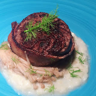 Bacon-Wrapped Filet Mignon with Fennel Puree and Mushrooms.