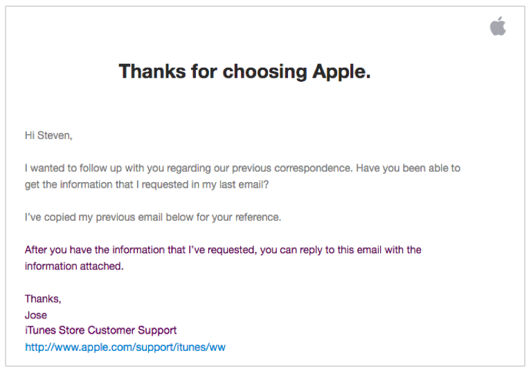 Apple follow-up email after no response.