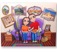 Photo: Lienzo personalizado: familia nenalizada :). 40x 30 cm, pintado en acrílico y barnizado. Consultar precios