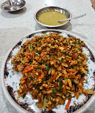 Photo: Kotthu Roti. This peppery mountain of shredded elasticky gothamba roti tangled up veggies is a special meal. Served at many restaurants in egg or meat varieties for less than a US $1 Colombo Sri Lanka