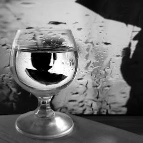 by Svetla Ivanova - Digital Art People ( rain, glass, b&w, umbrella, men )