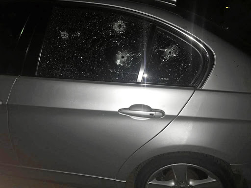 Two gunmen opened fire on Johnson Mdaka's car as he arrived home with his wife and daughter.