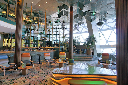 Eden on decks 4-6 of Celebrity Edge includes a cafe, bar, restaurant and a performance art space during several nights of your cruise.