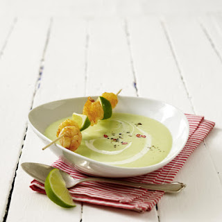 Chilled Avocado Soup with Sautéed Shrimp