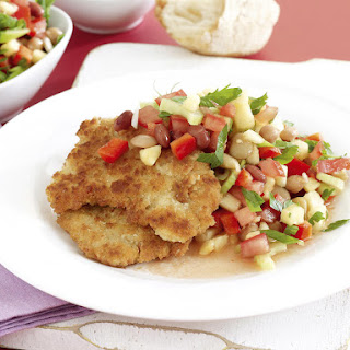 Breaded Pork Cutlets with Bean Salad