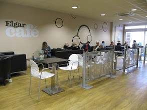 Photo: Inside the Elgar Cafe, Student Union, St. John's Campus, University of Worcester
