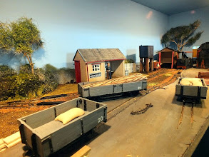"Photo: 021 The second scenic ""box"" in this large 1:25 scale 16.5mm gauge layout features the station area of Hook Basin ."