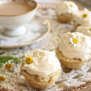 Vegan Mini Chamomile Cupcakes.