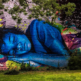 Dream a litlle Dream... by Iva Marinić - City,  Street & Park  City Parks ( park urban art graffiti wall photography colorful shadows daylight blue green )