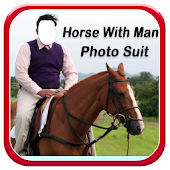 Horse With Man Photo Suit HD