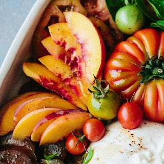 Tomato Fig Peach Prosciutto And Burrata Salad