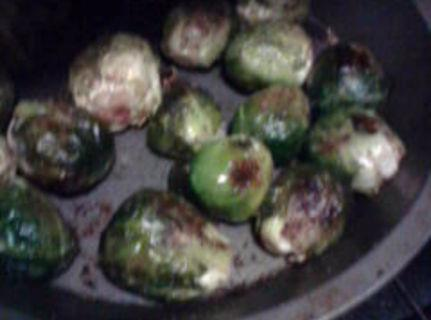 First drizzel sprouts with olive oil S&P.  Toss together, place on baking pan 425...