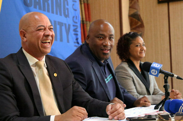 The Patriotic Alliance's Marlon Daniels, left, with party leader Gayton McKenzie and deputy president Leanne Williams at a media conference in Port Elizabeth yesterday