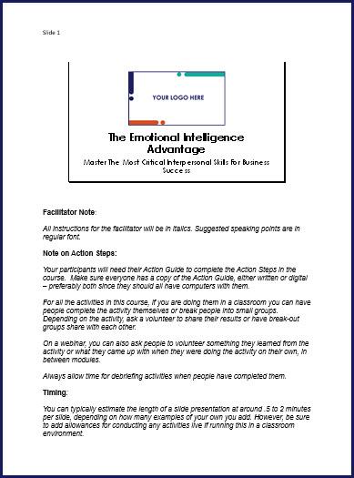 The Emotional Intelligence Advantage - Speaker Notes
