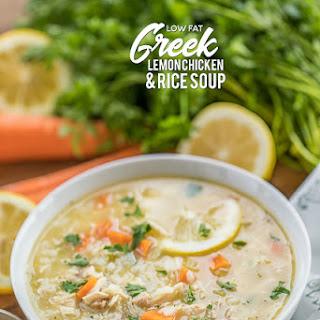 Low Fat Greek Lemon Chicken & Rice Soup.