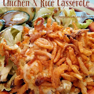Chicken & Rice Casserole with Crunchy Onion Topping.