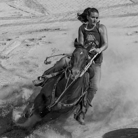 Going down by Joe Saladino - Black & White Sports ( horse, barrel race, monochrome, rider, sport )