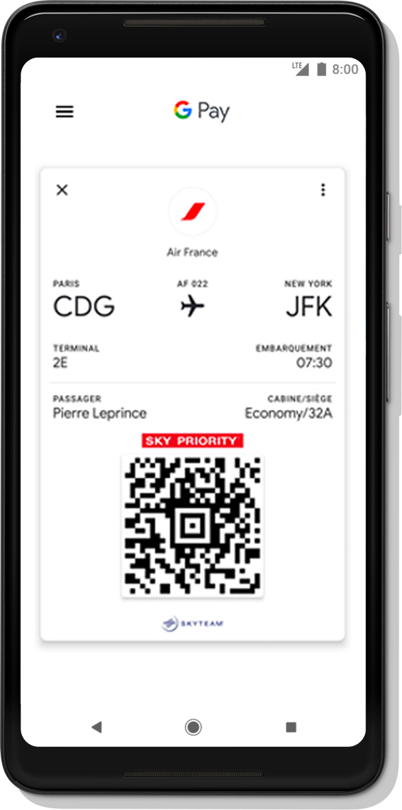Google Pay App Sample Interface 2: Google Pay AirFrance airlines ticket