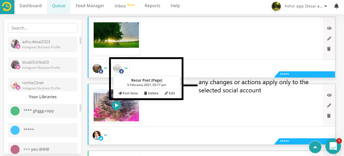 how to use social queue on recurpost