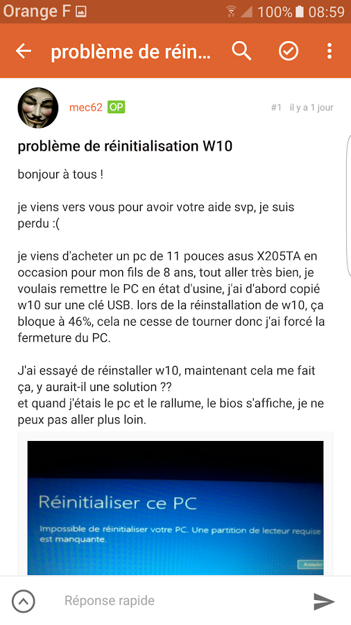 Le forum des portables Asus- screenshot