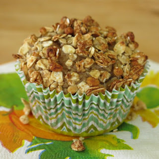 Easy Applesauce Muffins with a Crunchy Granola Topping.