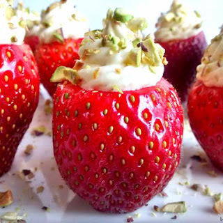 Cheesecake Stuffed Strawberries w/ Rosewater & Crushed Pistachios