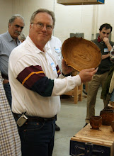 Photo: Bill Casson showed this large natural edge bowl in chestnut, a very rare wood, ...