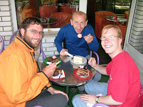 Photo: Mick, Larenc (a sugar lover who fed us much cake at 9am) and Trevor.