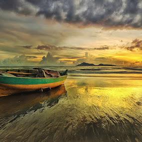 LONELY BOAT by Jasen Tan - Landscapes Sunsets & Sunrises