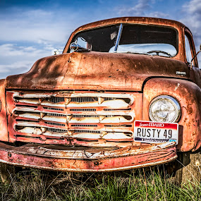 Rusty 49 by Evan Jones - Transportation Automobiles ( studebaker, old, bright, grass, tow truck, truck, rusty,  )