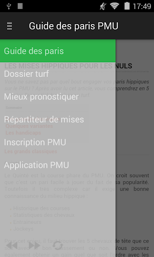 Guide des paris PMU