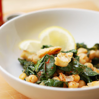 Sauteed Silver Beet with Chickpeas & Fried Bread.