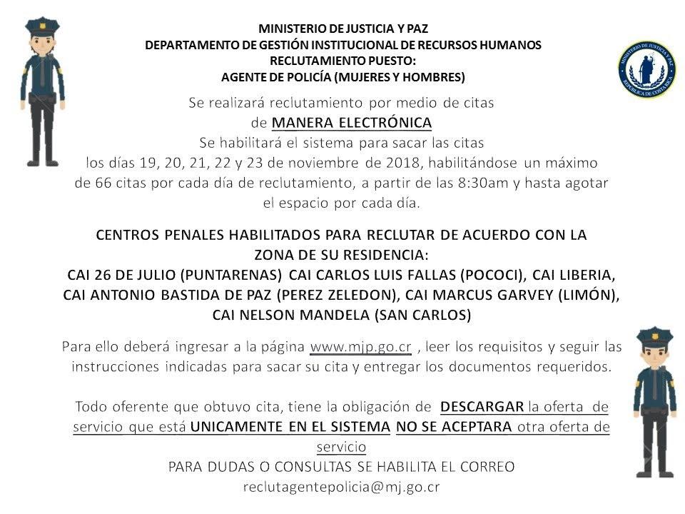 Imagen RECLUTAMIENTO PUESTO: AGENTE DE POLICÍA NOVIEMBRE 2018
