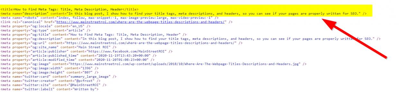 Check meta tags