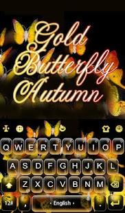 Gold Butterfly Autumn Keyboard Theme apk screenshot 1