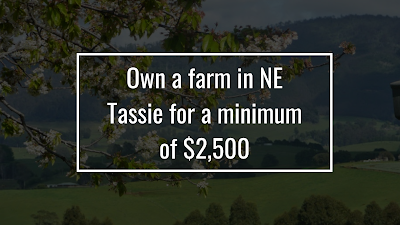 Own a farm in NE Tassie for a minimum of $2,500