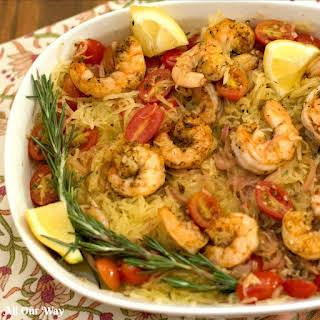 Sautéed Shrimp with Rosemary Tomato Spaghetti Squash.